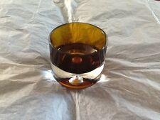 VINTAGE RETRO AMBER HEAVY GLASS POT