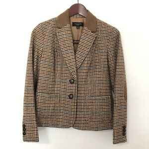 Talbots Womens Size 2P Petites Wool Brown Houndstooth Blazer Peplum Jacket