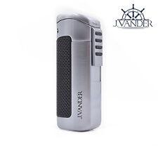 J.VANDER Yorke Butane Cigar Lighter - Triple Torch Jet Flame Refillable w/ Punch