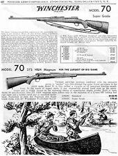 1954 Print Ad of Winchester Model 70 375 H&H Magnum & Super Grade Big Game Rifle