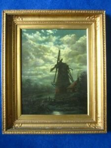 Fine Antique oil windmill at dusk by Joseph Xavier Mallet French 1827-1895