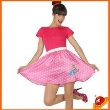 Costume Carnevale Donna Ragazza Abito Grease Rosa Barbie Anni 60s50s Tg 36-46