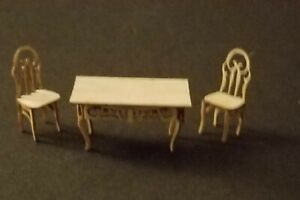 1:48 inch Quarter Scale DINING TABLE & 2 CHAIRS KIT