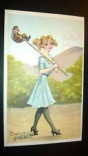 """Antique """" SUMMER GIRL'S SERIES #155""""Humorous  Post Card - Embossed. Unused 1910"""