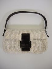 FENDI Pearl Espresso Brown Leather Trim Baguette Handbag Purse - RARE