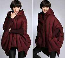 Womens Fashion Hooded White Duck Down Coats Cape Loose Warm New Parka Jackets