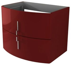 """Baden Haus Sting Collection 27.5"""" Single Vanity in Red with glass sink"""