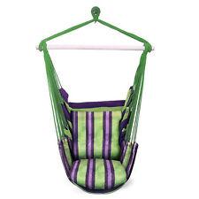 Prime Garden Green Stripe Soft Comfort Hanging Hammock Chair For Indoor Outdoor