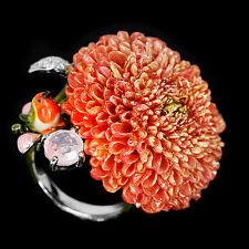 925 Silber Ring, 57 (18,0 mm Ø) Rosenquarz, Cremon Blumen, Vogel Keramik Emaille