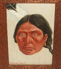 """WILLIAM BAUCH """"INDIAN WOMAN"""" OIL BOARD PAINTING DATED 1974"""