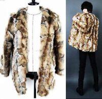 Men  Fashion Winter Warm  Leopard Faux Fur Coat Slim Long Outdoor Jacket Parka