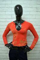 Maglia GUESS Donna Taglia S Maglietta Shirt Cotone Maniche Lunghe Polo Woman