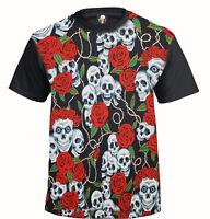 SKULL & ROSES Sublimation T-Shirt/Tattoo/Rockabilly/Biker/Goth/Metal/Gift/Top