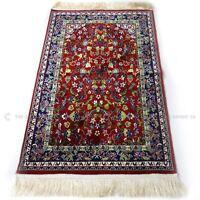Al Haram Luxury Pray Mat with Gift Bag Red Madina Prayer Rug 110x70