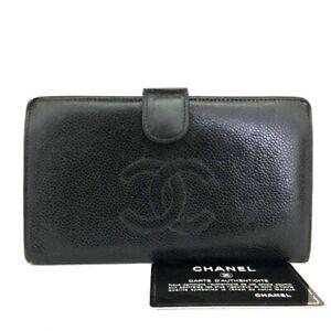 CHANEL CC Logo Black Caviar Skin Long Bifold Wallet /C1109
