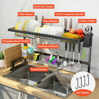 2 Tier Stainless Steel Dish Drying Rack Over Sink Kitchen Cutlery Drainer Holder