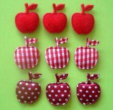 75 Padded Mini Fabric Red Apple Applique/Satin Polka Dot/Felt/Gingham Check H8
