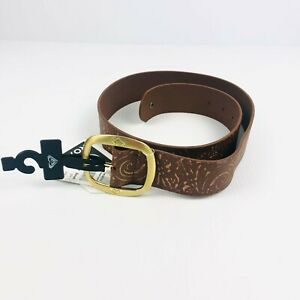 NEW ROXY Leather Belt X Small Gold Buckle Roxy Logo Boho Distressed Look [M1]