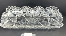 Antique Hawkes Deep Cut American Brilliant Crystal Celery Relish Tray - 11""