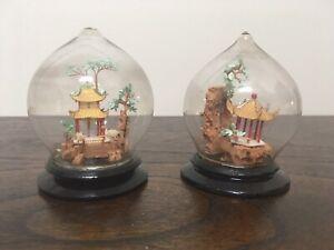 2 X Vintage Ornate Mini Asian Cork & Glass Dome Diorama Scene/Display