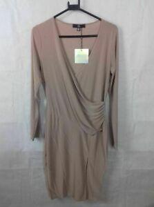 BNWT Missguided Brown Long Sleeve Midi Dress size 12