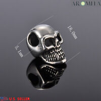 Wholesale 316LStainless Steel Silver Skull Beads Jewelry Making 5.1mm(2/8'')Hole
