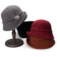 Womens Floral Upturn Brim Cloche Wool Soft Bucket Winter Church Wedding Hat A474