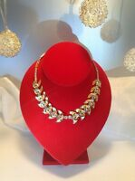 Vintage Estate Stunning Italian Clear Rhinestones Gold tone Necklace