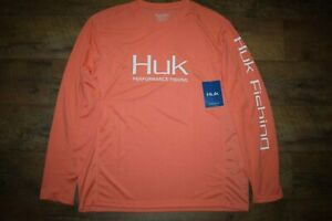 HUK Men's Icon X L/S Fishing Shirt Size Large (Fusion Coral 634) NWT