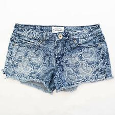 Aeropostale Paisley Raw Cutoff Blue Jean Shorts Size 00 / 26 Bootie
