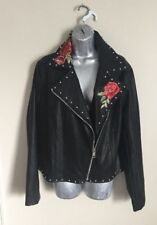 forever 21 Plus Faux Black Leather Side Zip Jacket 1X Retail $200