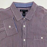 International Concepts Button Up Shirt Men's Size 2XL XXL Red Blue White Plaid