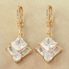 Fashion yellow Gold Filled Clear Crystals 2-Square Dangle Earrings womens HOT