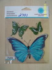 MARTHA STEWART CRAFTS-BLUE & GREEN BUTTERFLY STICKERS