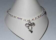 "Anklet Ankle Bracelet - 9 1/2"" Bow Bowknot Charm Stretch Crystal Ab Czech"