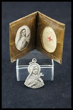 † LOT ST THERESE of LISIEUX CLOTH LEATHER RELIQUARY + 1 SILVER MEDAL PENDANT †