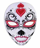 Day of the Dead Sugar Skull Mask Red Black Pink Dia de Muertos Costume Accessory
