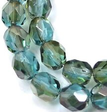 25 Firepolish Czech glass Faceted Round Beads - Aquamarine - Celsian 6mm