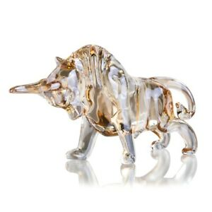 Crystal Bull Figurine Animal Figure Statues Souvenir Sculpture Home Office Decor