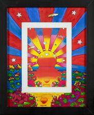 Peter Max Sunrise Art Print Heavy Stock Hand Painted Mat Signed COA Framed