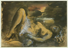 Nude, Myfanwy, the artist's wife, John Piper print  in 10 x 12 inch mount SUPERB