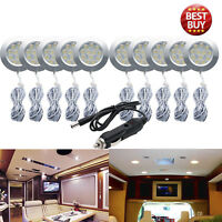 10Pcs 12V LED Interior Dome Ceiling White Light Fit RV Boats Camper +Car Charger