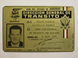 OBSOLETE 1962 DURANGO MEXICO TRAFFIC DIRECTOR MEXICAN POLICE BADGE ID POLICIA
