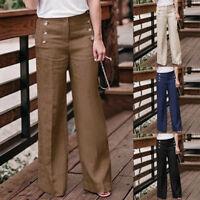 New Women Linen Cotton Wide Pants Pure Color High Waist Breathable Trousers JR15