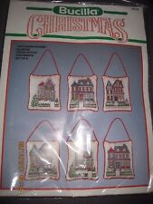 BUCILLA CHRISTMAS VICTORIAN HOUSES SET OF 6 COUNTED CROSS STITCH KIT #82749 NEW