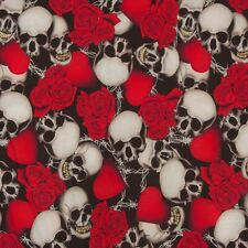 FABRIC REMNANT SKULL ROSES & BARBED WIRE 144cms x 67cms  POLYESTER / ELASTANE