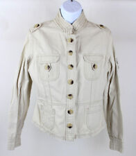 Jordache Womens Beige Casual Button Front Stretch Jacket Size Large