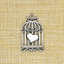 5Pcs Heart Bird Cage Charms Antique Silver Jewlery Making A0001