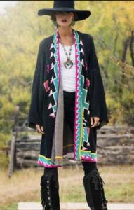 Double D Ranch Cibilo Oversized Poncho Cardigan Sweater Aztec Black Small Peru
