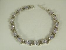 BRACELET:  STRIKING OVAL (8X6MM) LAVENDER TOURMALINE 925 STERLING SILVER